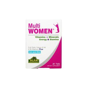 قرص مولتی وومن آلفا ویتامینز 30 عدد افزایش انرژی و تامین ویتامین و املاح مورد نیاز بانوان