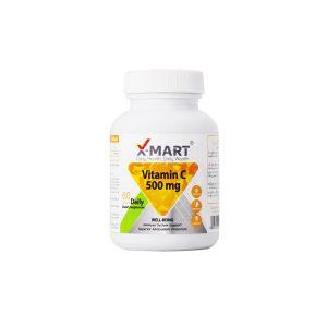 قرص ویتامین C 500 میلی گرم ایکس مارت 60 عدد تامین ویتامین سی مورد نیاز بدن و رفع خستگی و جذب بیشتر آهن