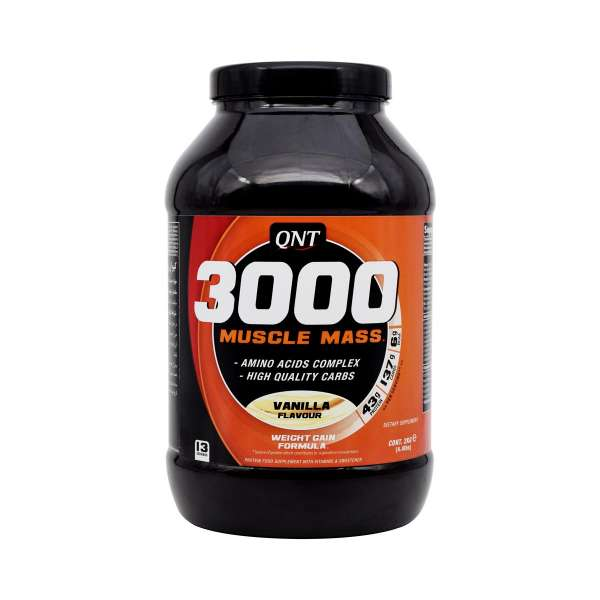 پودر گینر 3000 ماسل مس با طعم وانیل کیو ان تی 2000 گرم