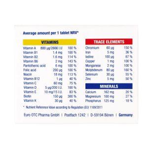 قرص مولتی ویتامین کامپلیت یورو ویتال   30 عدد   حفظ سلامت عمومی بدن